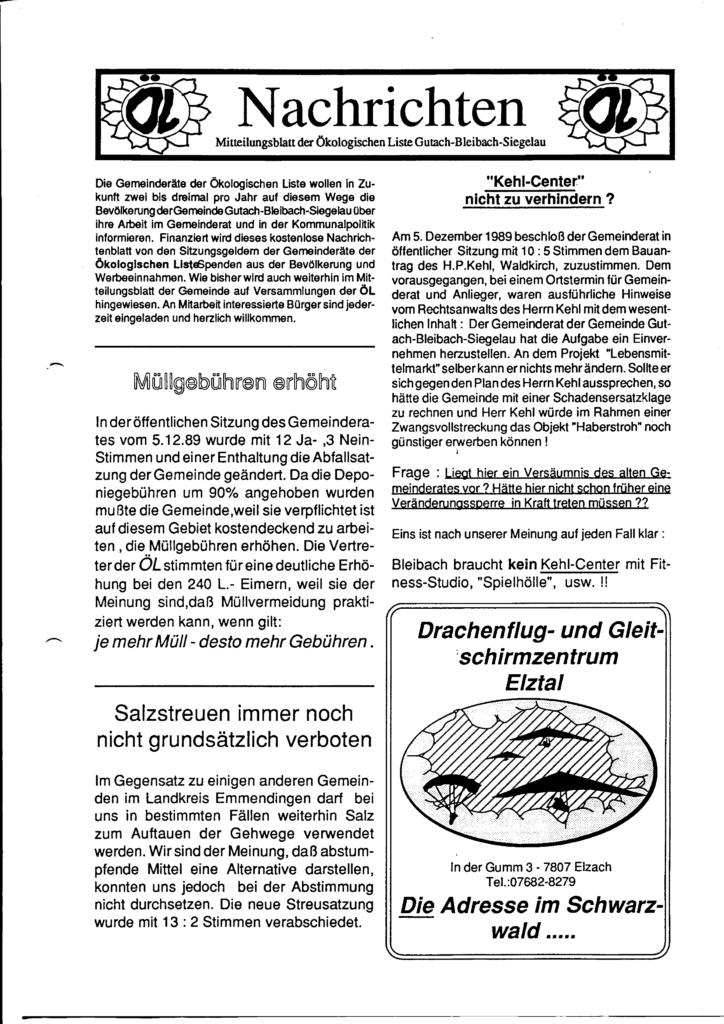 Fotokopie der ersten Seite des Mitteilungsblatts der Ökologischen Liste Gutach-Bleibach-Siegelau