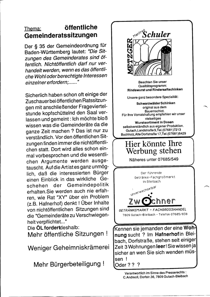 Fotokopie der zweiten Seite des Mitteilungsblatts der Ökologischen Liste Gutach-Bleibach-Siegelau