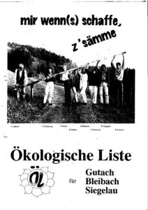 """Fotokopie eines Flyers, der die acht Kandidierenden zeigt, wie sie eine Schranke öffnen, mit dem Slogan """"mir wenn(s) schaffe, z'sämme""""."""