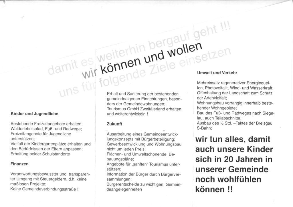 Programm-Flyer der Ökologischen Liste aus dem Jahr 2009